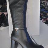 Элегантные зимние кожаные сапожки на среднем каблуке. Распродажа зимы.