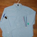 рубашка с длинным рукавом H&M, школьная, голубая, 140