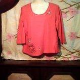 Женская бренд BIBA футболка очень красивая тянется .насыщенный оранжевый цвет
