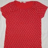 Красная трикотажная блузка H&M в светлый горошек. На девочку 6-8 лет. Рост 122-128 см