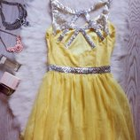 Лимонное вечернее платье в пол с серебристыми пайетками и открытой спиной шифон длинное праздничное