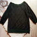 Зеленая ажурная кофточка гипюр ажурная вышивка с рукавами на манжетах темная Next