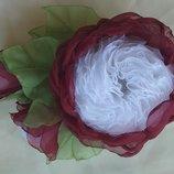 Заколка Английская роза цветы из шифона и атласных лент, резинка, обруч