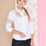 Блуза офисного стиля Диез со вставками из гипюра-макраме