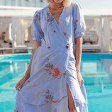 Шикарное каттоновое платье мелкая полоска с вышивкой скл1 арт.42696.