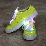 Яркие желтые светящиеся криперы кеды со светодиодными шнурками Польша