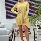 Платье туника короткое люрекс на дайвинге нежного золотого цвета арт.43962 скл.1