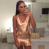 Zara trafaluc collection beautiful rose gold skirt,юбка золотого цвета ,xs/s