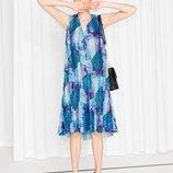 Плиссированное платье миди & other stories яркое летнее платье zara h&m р. xs, s, m