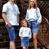 Сімейний комплект вишиванок з тонкого льону з однаковою вишивкою
