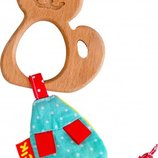 Деревянный прорезыватель Котик с мышкой-погремушкой Масик