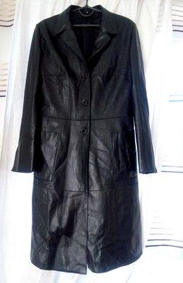 Красивое модное кожаное пальто кожаный плащ р.38 М черное идеальное ... b0981654cd0