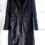 Красивое модное кожаное пальто кожаный плащ р.38 М черное идеальное