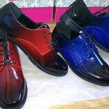 Туфли чёрно- красные, черно-синие лаковые омбре 36,37,38,39,40,41