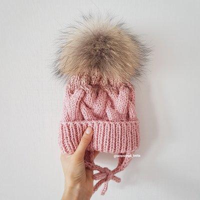 детская вязаная шапочка косами ручной работы градиент 380 грн