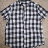 Мужская рубашка в черно-белую клетку