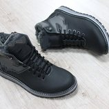 Мужские зимние ботинки из натуральной кожи, код ks-2643
