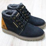Мужские зимние ботинки из натурального нубука, код ks-2835