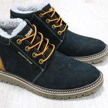 Мужские зимние ботинки из натурального нубука, код ks-2754
