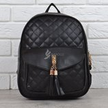 Рюкзак женский мини черный с бахромой Jungle