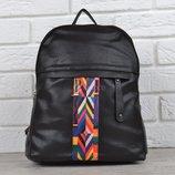 Рюкзак женский черный с яркой текстильной вставкой Valentino style