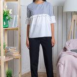 Модная блузка 2 расцветки Блузка Миннесота полоска и клетка рубашечная ткань