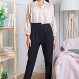 Оригинальные черные женские брюки из костюмки Техас