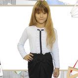 Блуза Жабо с длинным рукавом рост 116-140