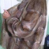 Роскошная новая шуба норковая норка пояс капор с норкой