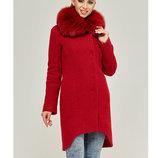 Зимнее пальто натуральный мех Бесплатная доставка mnv-59 красное женское пальто с песцом