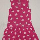 Трикотажное розовое платье M&S на девочку 6 лет. Рост 116 см.