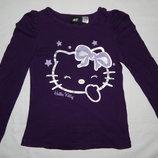 Фиолетовая футболка H&M с нарисованной Hello Kitty. На девочку 4-6 лет Рост 110-116 см.
