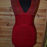 Бандажное вязаное платье с золотистым люрексом