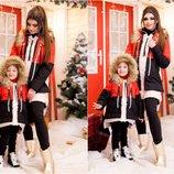 Family look зимняя куртка с мехом мама дочка
