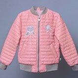 крутая демисезонная куртка бомбер для девочки р104-116