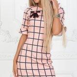 Платье прямое клетка ткань креп костюмка скл.1 арт.43984