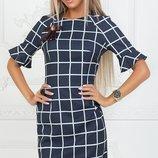 Платье прямое клетка ткань креп костюмка скл.1 арт.43983