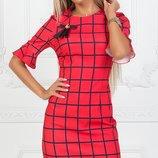 Платье прямое клетка ткань креп костюмка скл.1 арт. 43982