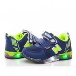 Кроссовки для мальчика BBT 21, 22, 23, 24, 25, 26 р Синий, салатовый F810-2 LED-Кроссовки светящиес