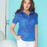 Блуза-Рубашка А-83 с коротким рукавом на манжете, застегивающейся на кнопку.