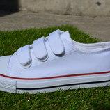 Детские подростковые кеды конверс converse all star на липучках белые