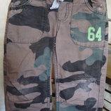 штаны коричнево-зеленый хаки Respect 3/4 года 98/104 см 100%котон