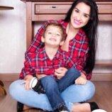 Family look модные рубашки клетка мама дочка