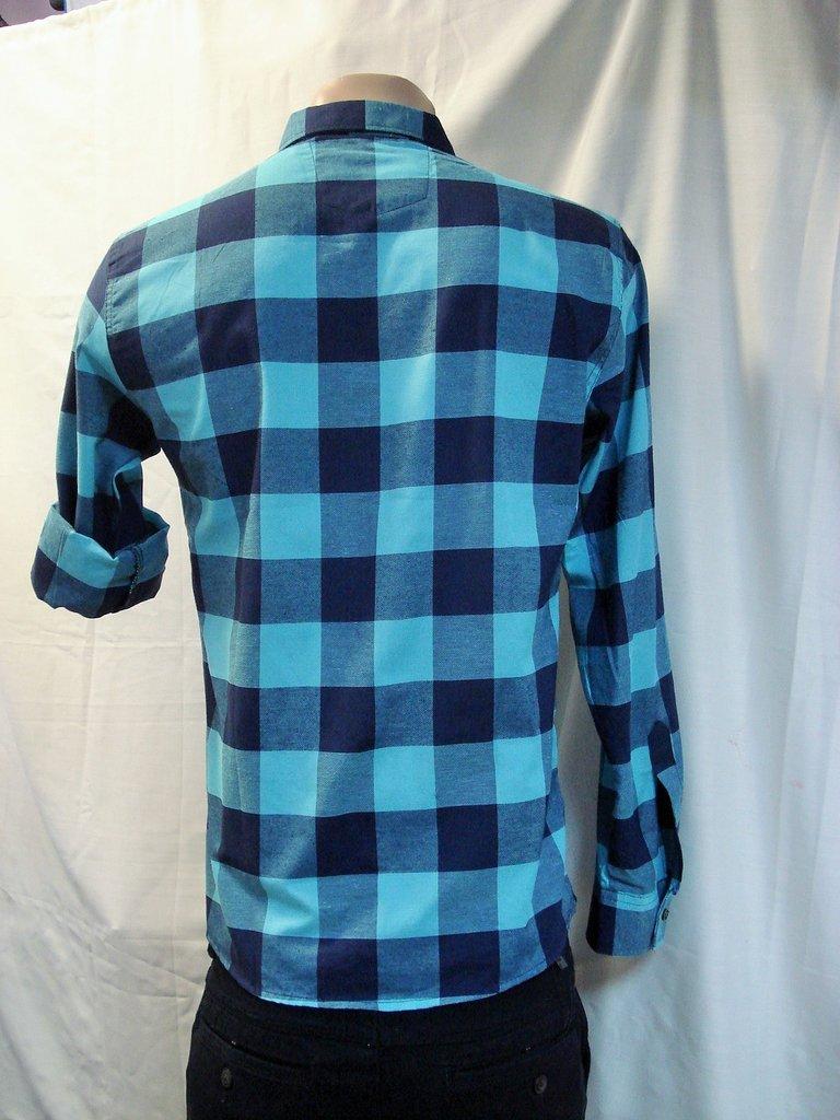 5ec115d2cee Рубашка мужская притал. GPORT бирюзовая клетка M