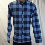 Рубашка мужская притал. GPORT синяя клетка M,L,XL,2XL,3XL