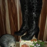 Сапожки дутики на каблуке ,зима ,эко-кожа водоотталкивающий текстиль 24 см