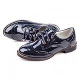 Туфли для девочки Леопард 27, 28, 29, 30, 31, 32 р Синий GE106-2 Туфли броги для девочки синего