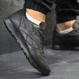 Кроссовки мужские Reebok black, натур.кожа