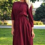 Платье-Рубашка ткань софт цвета марсала скл.1 арт.43881