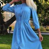 Платье-Рубашка ткань софт голубого цвета скл.1 арт.43879
